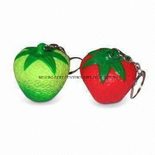 PU Stress Keychains in Strawberry Shape Promotional Stress Balls