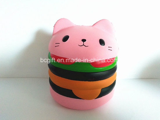 Big Hamburger Cat Bulk Squishies Scented PU Slow Rising Squishy Toys