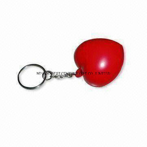 PU Antistress Keychain in Red Heart Design Promotional Stress Balls Toy